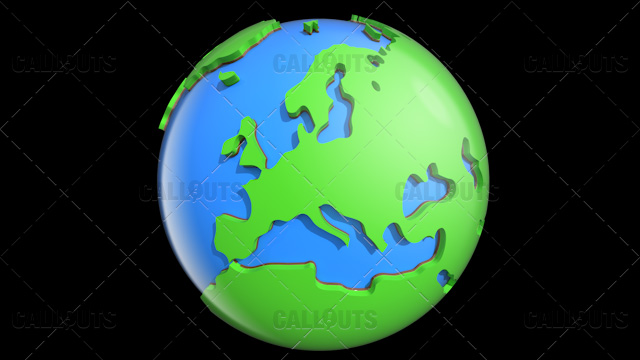 Stylized Two-Colored Glossy Planet Earth Showing Europe