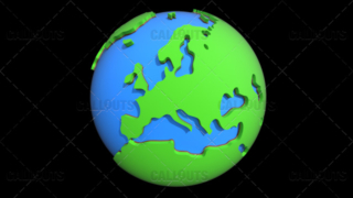 Stylized Two-Colored Flat Planet Earth Showing Europe