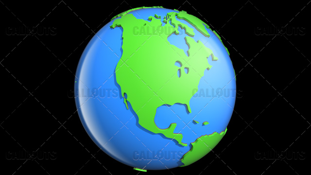 Stylized Two-Colored Glossy Planet Earth Showing North America