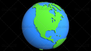Stylized Two-Colored Flat Planet Earth Showing North America