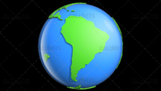 Stylized Two-Colored Glossy Planet Earth Showing South America