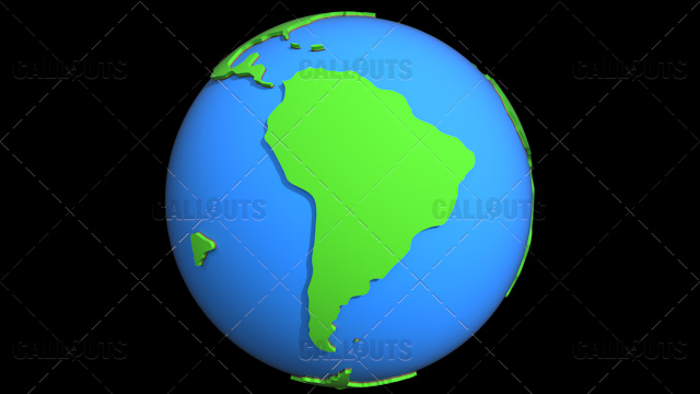 Stylized Two-Colored Flat Planet Earth Showing South America