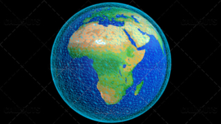 Stylized Planet Earth Globe Showing Africa with Wireframe