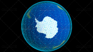 Stylized Planet Earth Globe Showing Antarctica with Wireframe