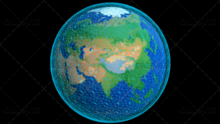 Stylized Planet Earth Globe Showing Asia with Wireframe