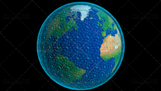 Stylized Planet Earth Globe Showing Atlantic Ocean with Wireframe