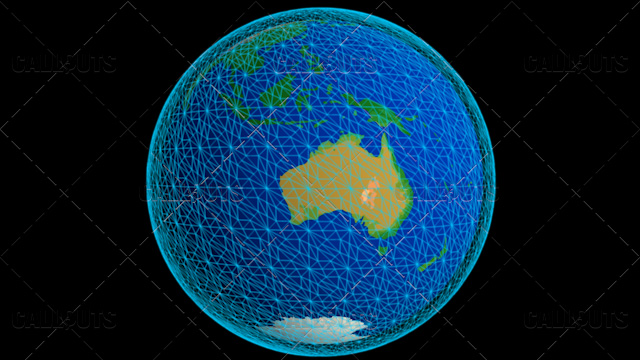 Stylized Planet Earth Globe Showing Australia with Wireframe