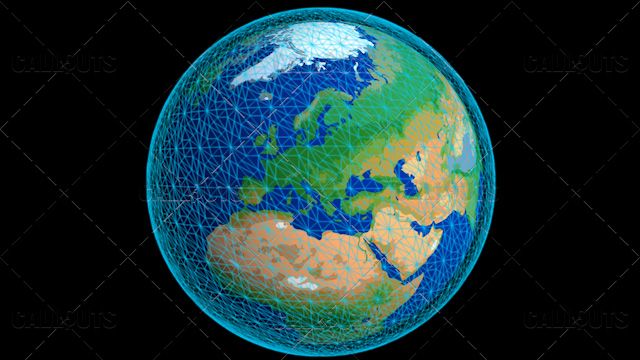 Stylized Planet Earth Globe Showing Europe with Wireframe