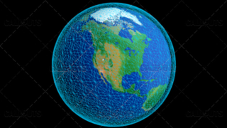 Stylized Planet Earth Globe Showing North America with Wireframe
