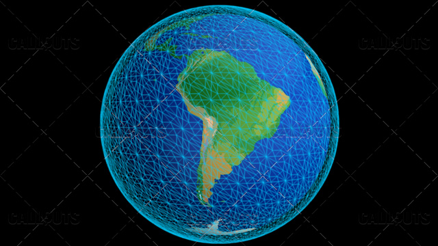 Stylized Planet Earth Globe Showing South America with Wireframe