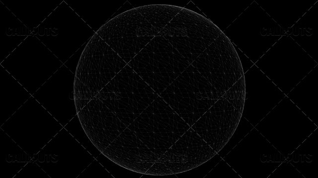 Stylized Planet Earth Globe with Wireframe