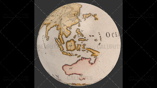 Old World Map Planet Earth Globe Showing East Asia