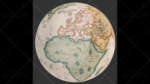 Old World Map Planet Earth Globe Showing Euro Africa