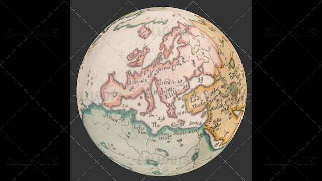 Old World Map Planet Earth Globe Showing Europe