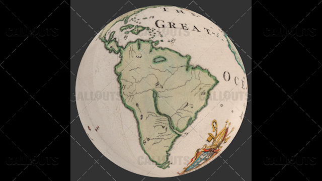 Old World Map Planet Earth Globe Showing South America
