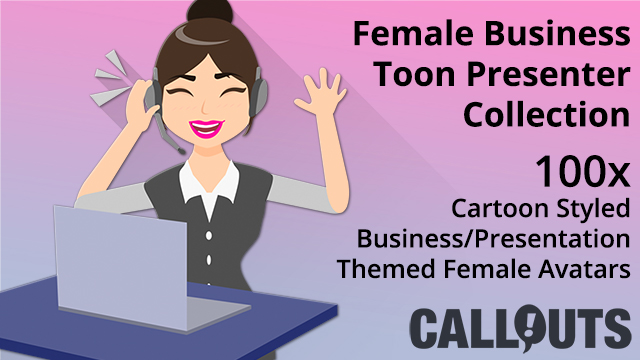Female Business Toon Presenter Collection