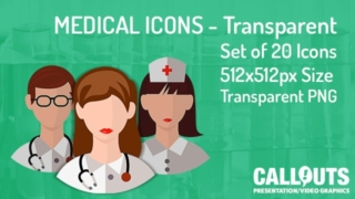 Medical Theme Icons Collection Transparent Flat Style