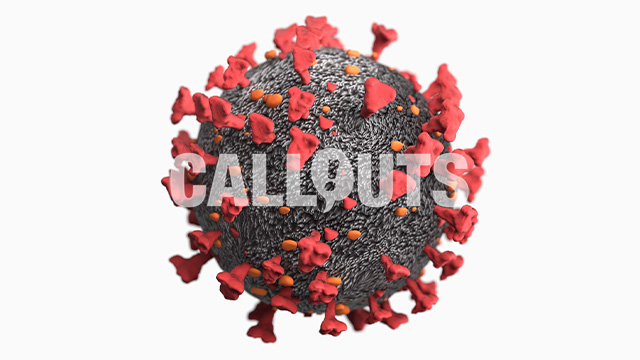 Covid 19 Coronavirus Microscopic 3D Illustration with Depth-of-Field Effect on White Background,