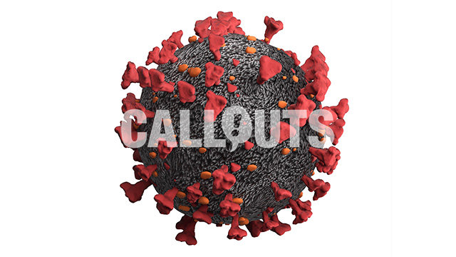 Covid 19 Coronavirus Microscopic on White Background, 3D Illustration