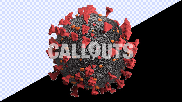 Covid 19 Coronavirus Microscopic with Depth-of-Field Transparent 3D Illustration