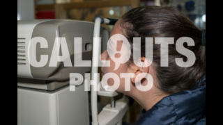 Young Teenage Girl in Eye Exame Checking Eye Vision with Machine