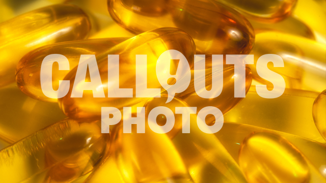 Closeup of Omega 3 Supplements, Fish Oil Capsules, Soft Focus