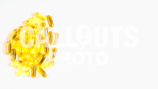 Omega 3 Supplements, Fish Oil Capsules on White Background, Text Space