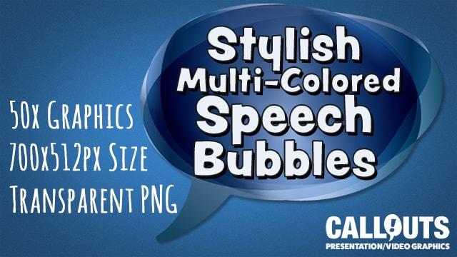 50 Stylish Multicolored Speech Bubbles