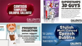 New Camtasia Colorful Callouts, new Doctor Presenter Collection, free Colorful Callouts, The Complete 3D Guy Collection, and more…