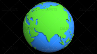 Stylized Two-Colored Flat Planet Earth Showing Asia