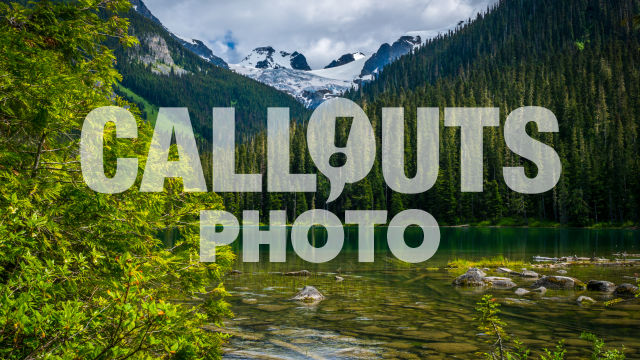 Joffre Lake with forest and glacier background 03