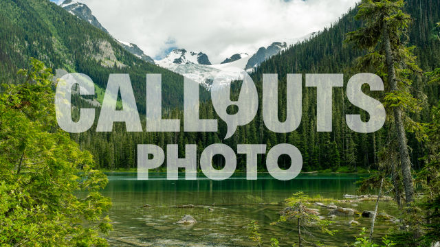 Joffre Lake with forest and glacier background 04