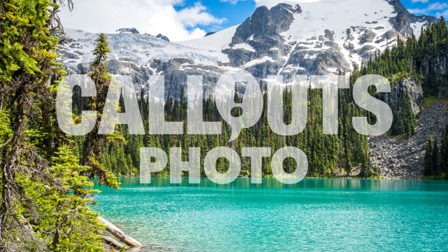 Joffre Lake with forest and glacier background 05
