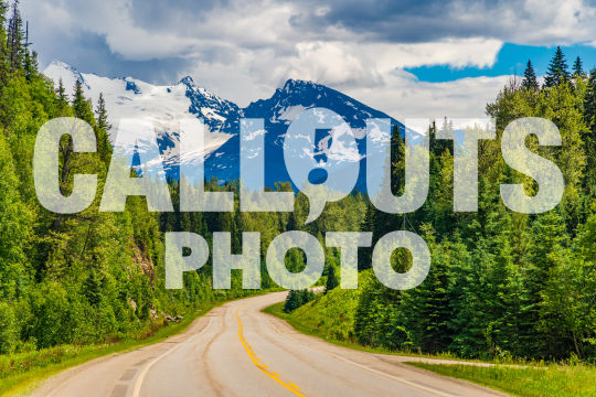 Canadian road with forests and mountains 02