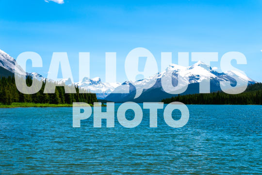 Maligne Lake with mountains and forest