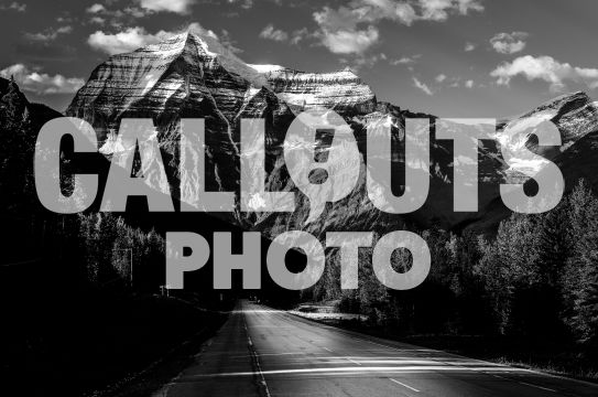 Road and Mount Robson, BW