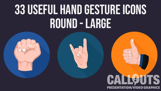Hand Gesture Icons Collection Round Flat Style
