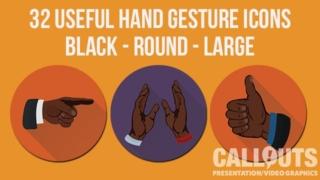 Black Hand Gesture Icons Round Flat