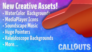 New Kaleidoscope Background Videos, Watercolor Backgrounds, Music, Media Player Buttons and Pointers