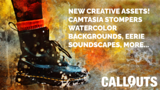 New Camtasia Stompers, Artistic Backgrounds, Music & Media Player Buttons